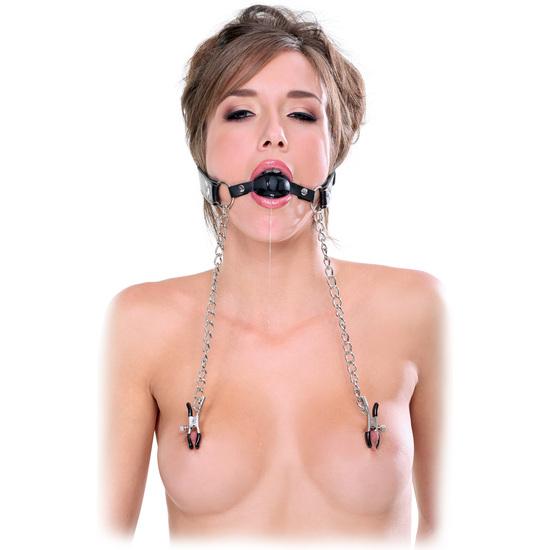 Comprar  FETISH FANTASY MORDAZA CON PINZAS PARA PEZONES PIPEDREAM Les ofrecemos los modelos de pinzas para pezones para practicas BDSM. Las pinzas y collares eróticos y sexuales para recrear las fantasías más atrevidas y sugerentes.