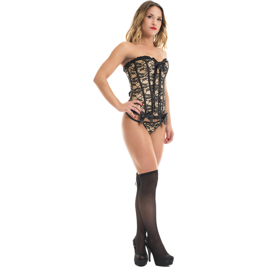Comprar CORSET VANINA MARRON + MEDIAS NEGRAS A JUEGO LIPS AND CHERRY